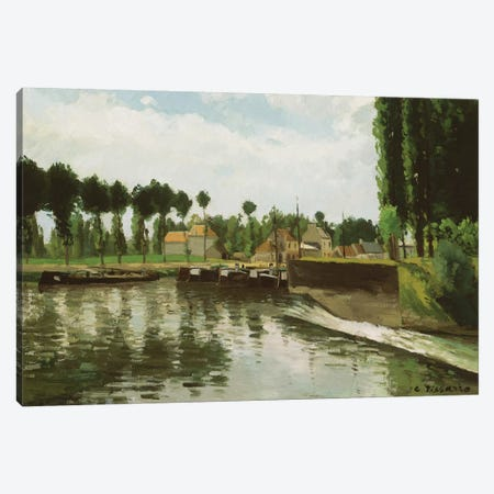 The Lock At Pontoise, 1869-70 Canvas Print #BMN6695} by Camille Pissarro Canvas Print