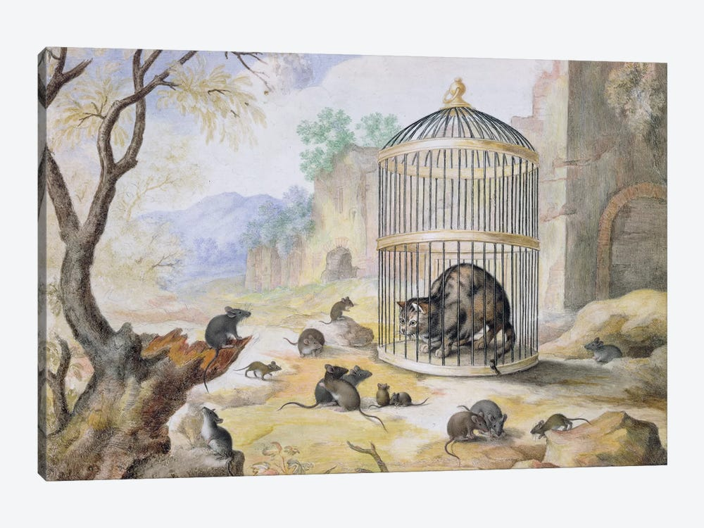 A Cat in a Cage  by Gottfried Mind 1-piece Canvas Wall Art