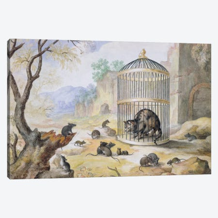 A Cat in a Cage  3-Piece Canvas #BMN669} by Gottfried Mind Canvas Wall Art