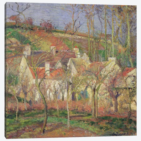 The Red Roofs (Corner Of A Village), Winter, 1877 Canvas Print #BMN6701} by Camille Pissarro Canvas Wall Art