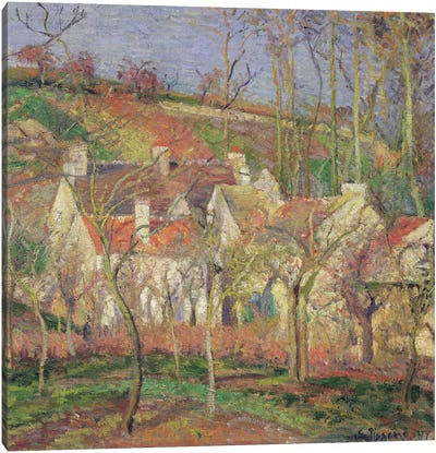 The Red Roofs (Corner Of A Village), Winter, 1877 Canvas Art Print