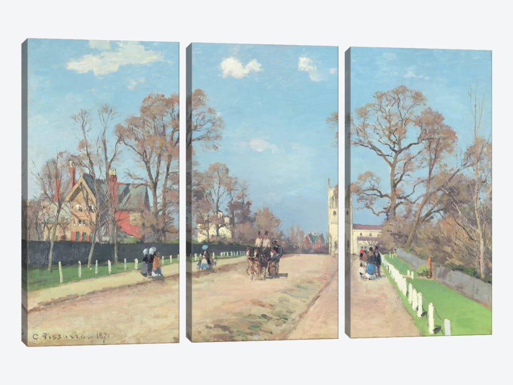 The Road To Sydenham, 1871 by Camille Pissarro 3-piece Canvas Print