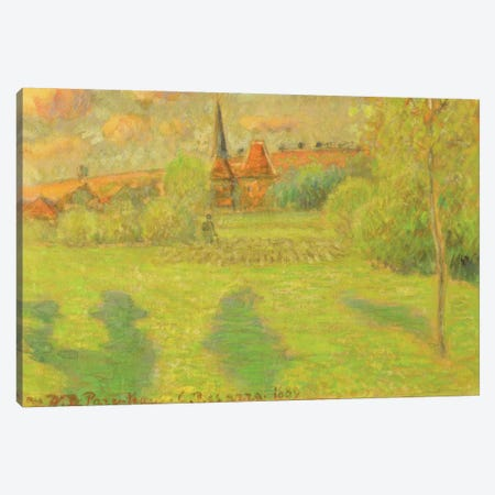 The Shepherd And The Church Of Eragny, 1889 Canvas Print #BMN6704} by Camille Pissarro Art Print