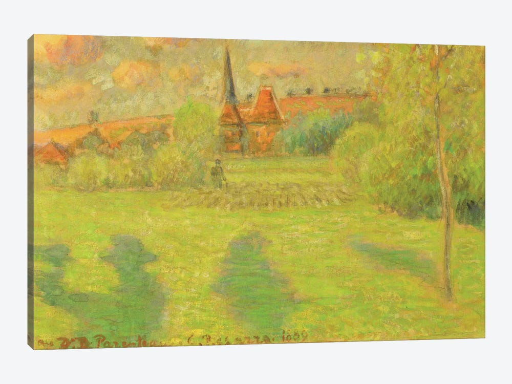 The Shepherd And The Church Of Eragny, 1889 by Camille Pissarro 1-piece Canvas Wall Art