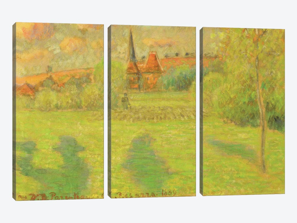 The Shepherd And The Church Of Eragny, 1889 by Camille Pissarro 3-piece Canvas Wall Art
