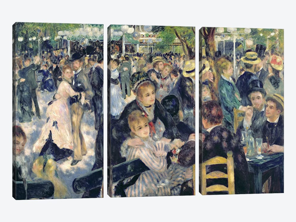 Ball at the Moulin de la Galette, 1876  by Pierre-Auguste Renoir 3-piece Canvas Wall Art