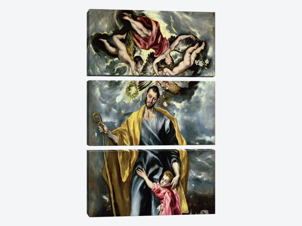 St. Joseph And The Christ Child, 1597-99 by El Greco 3-piece Art Print