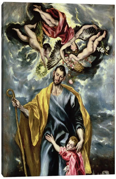 St. Joseph And The Christ Child, 1597-99 Canvas Art Print