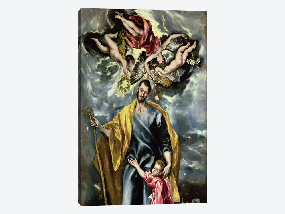 St. Joseph And The Christ Child, 1597-99 by El Greco 1-piece Canvas Art Print