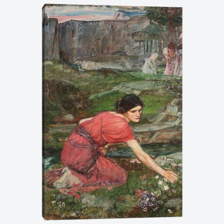 Study For Maidens Picking Flowers By A Stream, c.1909-14 Canvas Print #BMN6755} by John William Waterhouse Canvas Artwork
