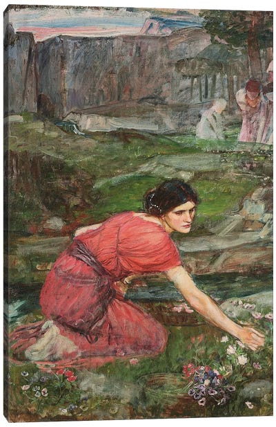 A Study: Maidens Picking Flowers By A Stream, c.1909-14 Canvas Print #BMN6755