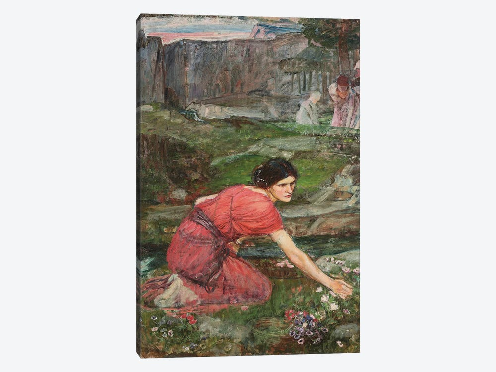Study For Maidens Picking Flowers By A Stream, c.1909-14 by John William Waterhouse 1-piece Canvas Art