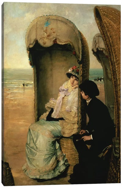 Confidences on the Beach, c.1883  Canvas Art Print