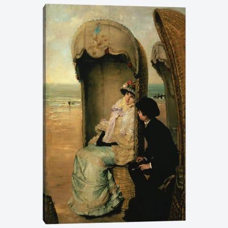 Confidences on the Beach, c.1883  Canvas Print #BMN675} by Vincente Gonzalez Palmaroli Canvas Art