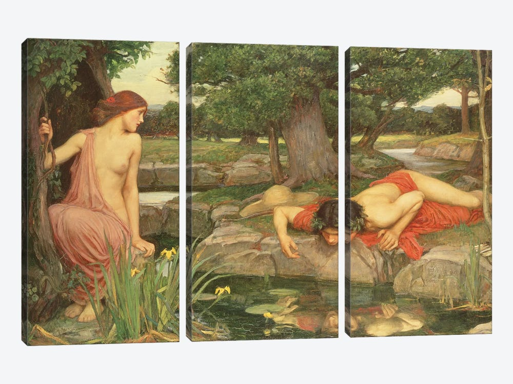 Echo And Narcissus, 1903 by John William Waterhouse 3-piece Canvas Artwork
