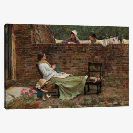 Gossip, c.1885 Canvas Print #BMN6764} by John William Waterhouse Canvas Print
