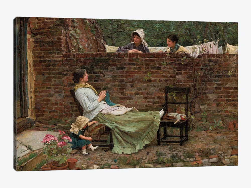 Gossip, c.1885 by John William Waterhouse 1-piece Canvas Artwork
