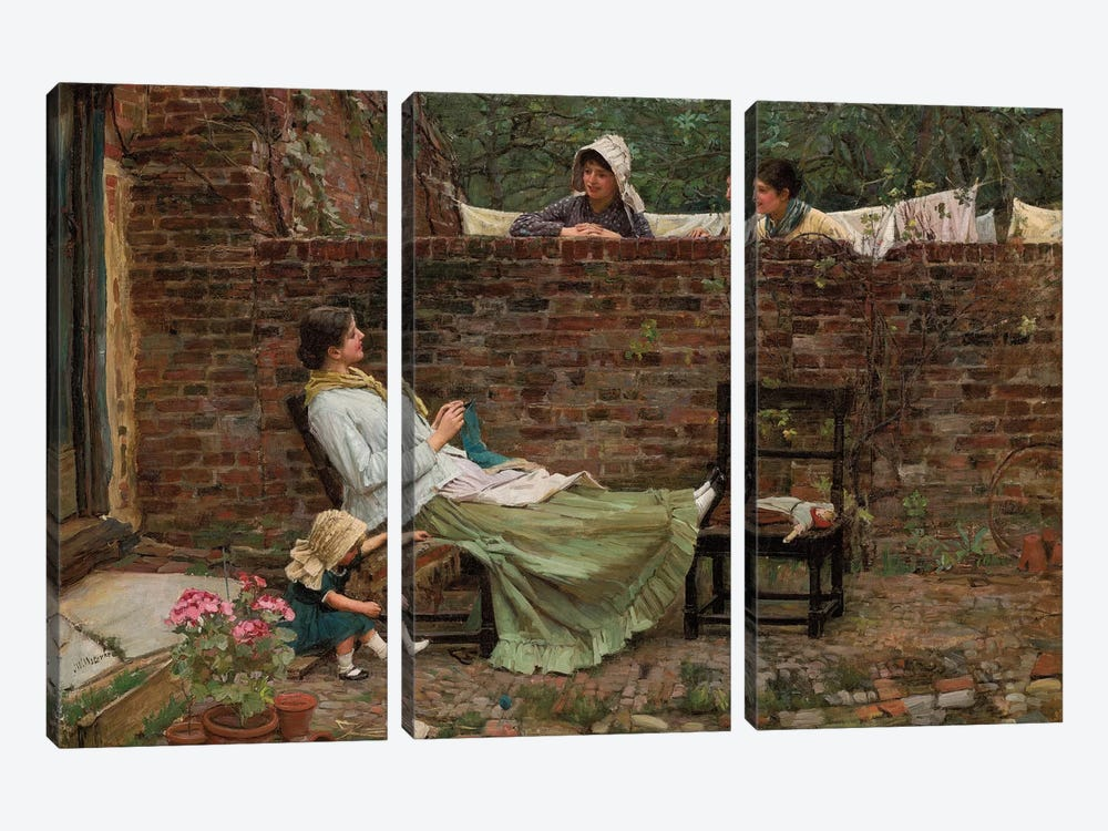 Gossip, c.1885 by John William Waterhouse 3-piece Canvas Artwork