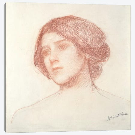 Head Of A Girl Canvas Print #BMN6765} by John William Waterhouse Art Print