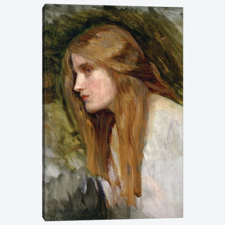 Head Of A Girl, c.1896 Canvas Print #BMN6766} by John William Waterhouse Canvas Art Print