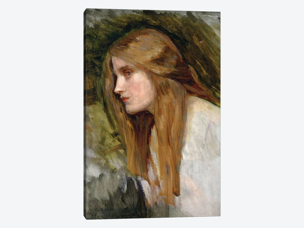 Head Of A Girl, c.1896 by John William Waterhouse 1-piece Canvas Artwork