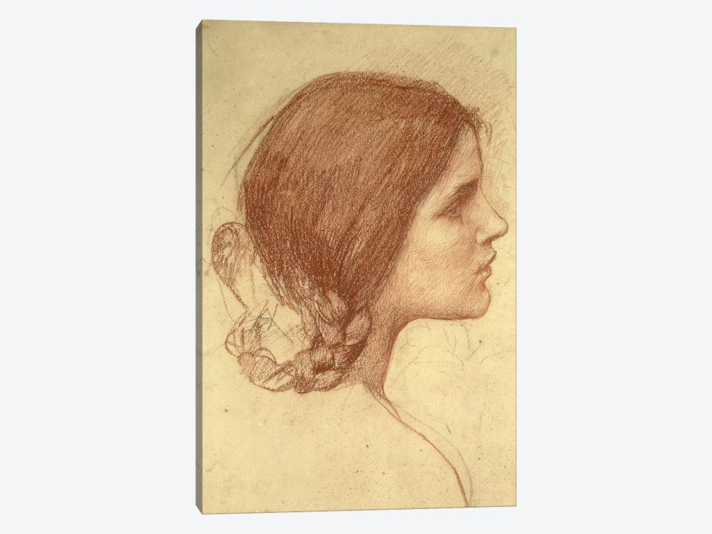 Head Of A Girl, c.1905 by John William Waterhouse 1-piece Canvas Print