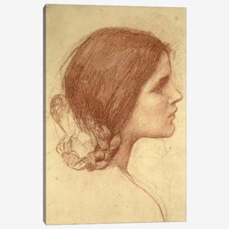 Head Of A Girl, c.1905 3-Piece Canvas #BMN6767} by John William Waterhouse Art Print