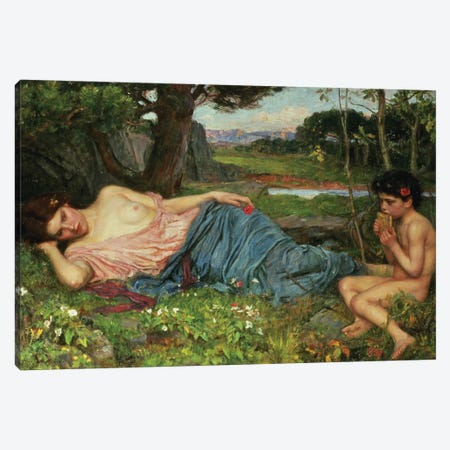 Listen To My Sweet Pipings, 1911 Canvas Print #BMN6769} by John William Waterhouse Canvas Wall Art