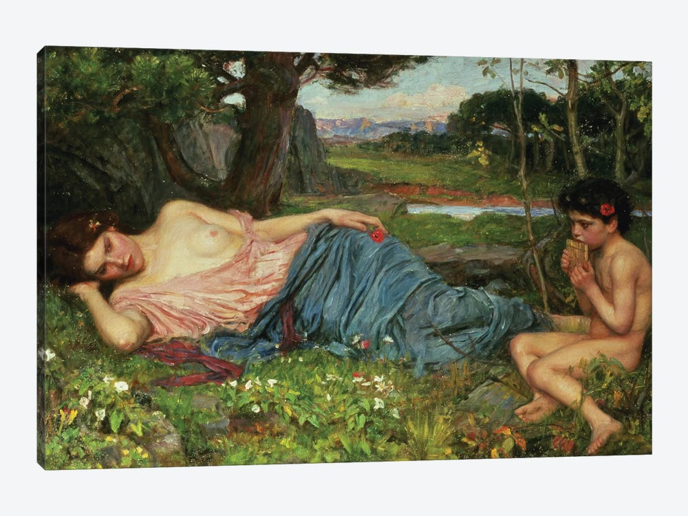 Listen To My Sweet Pipings, 1911 by John William Waterhouse 1-piece Canvas Print