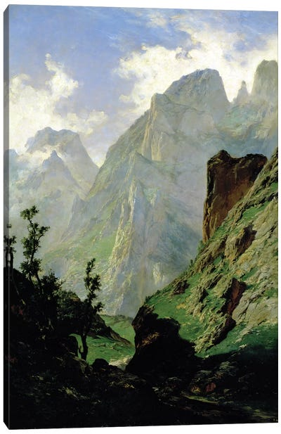 Mountains in Europe, 1876  Canvas Art Print