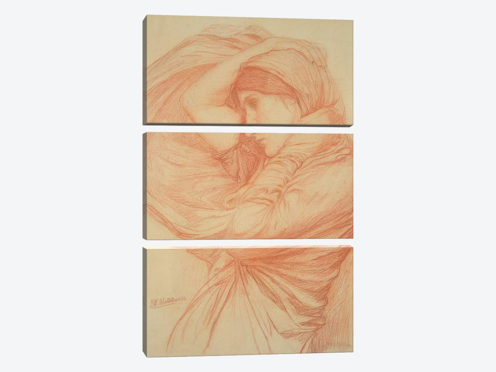 Study For Boreas by John William Waterhouse 3-piece Canvas Art