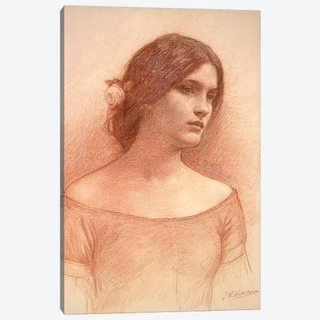 Study For The Lady Clare, c.1900 Canvas Print #BMN6776} by John William Waterhouse Canvas Wall Art