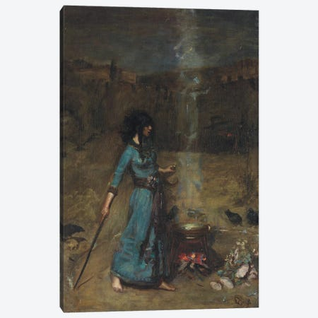 Study For The Magic Circle, 1886 3-Piece Canvas #BMN6777} by John William Waterhouse Canvas Art