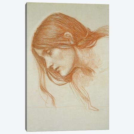 Study Of A Girl's Head 3-Piece Canvas #BMN6778} by John William Waterhouse Canvas Art Print