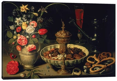 Still Life Of Flowers And Dried Fruit, 1611 Canvas Art Print