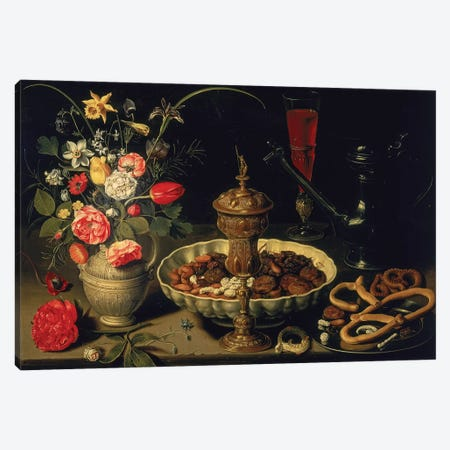 Still Life Of Flowers And Dried Fruit, 1611 Canvas Print #BMN677} by Clara Peeters Canvas Art