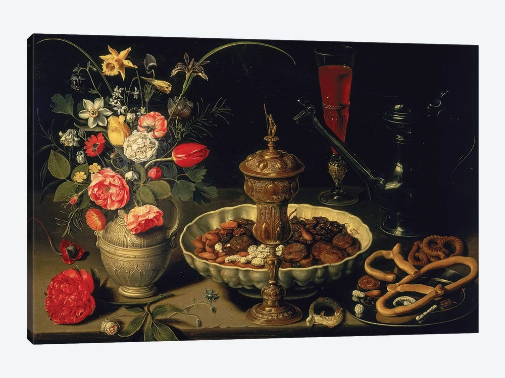 Still Life Of Flowers And Dried Fruit, 1611 by Clara Peeters 1-piece Canvas Art Print