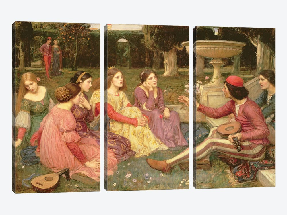 The Decameron, 1916 by John William Waterhouse 3-piece Canvas Artwork