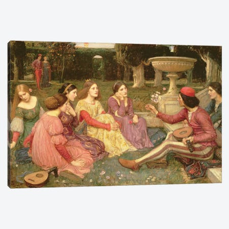 The Decameron, 1916 Canvas Print #BMN6782} by John William Waterhouse Canvas Wall Art