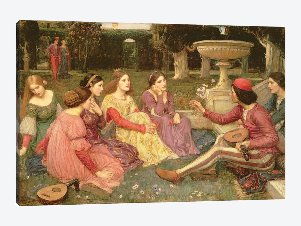 The Decameron, 1916 by John William Waterhouse 1-piece Canvas Artwork