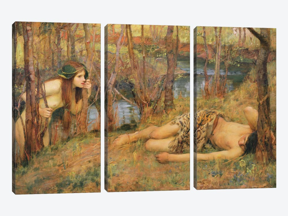 The Naiad, 1893 by John William Waterhouse 3-piece Canvas Wall Art