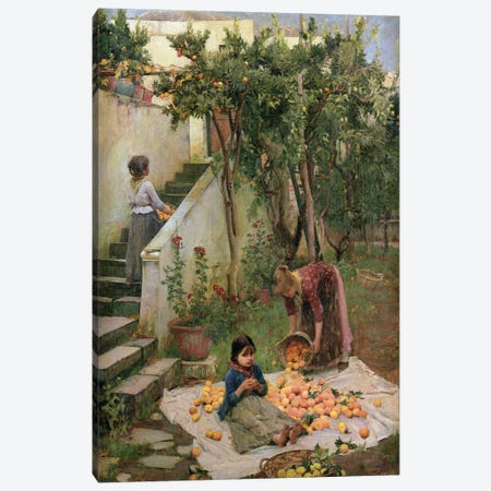 The Orange Gatherers Canvas Print #BMN6787} by John William Waterhouse Art Print