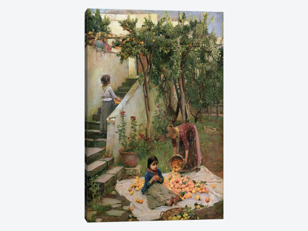 The Orange Gatherers by John William Waterhouse 1-piece Canvas Art Print