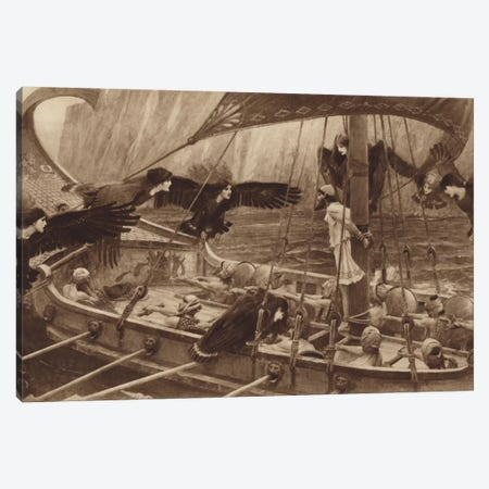 Ulysses And The Sirens Canvas Print #BMN6790} by John William Waterhouse Art Print