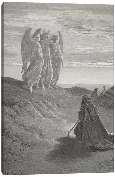 Abraham And The Three Angels (Illustration From Dore's The Holy Bible), 1866 Canvas Art Print