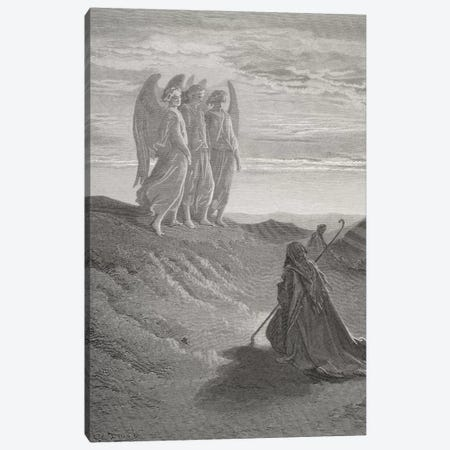 Abraham And The Three Angels (Illustration From Dore's The Holy Bible), 1866 Canvas Print #BMN6792} by Gustave Dore Art Print