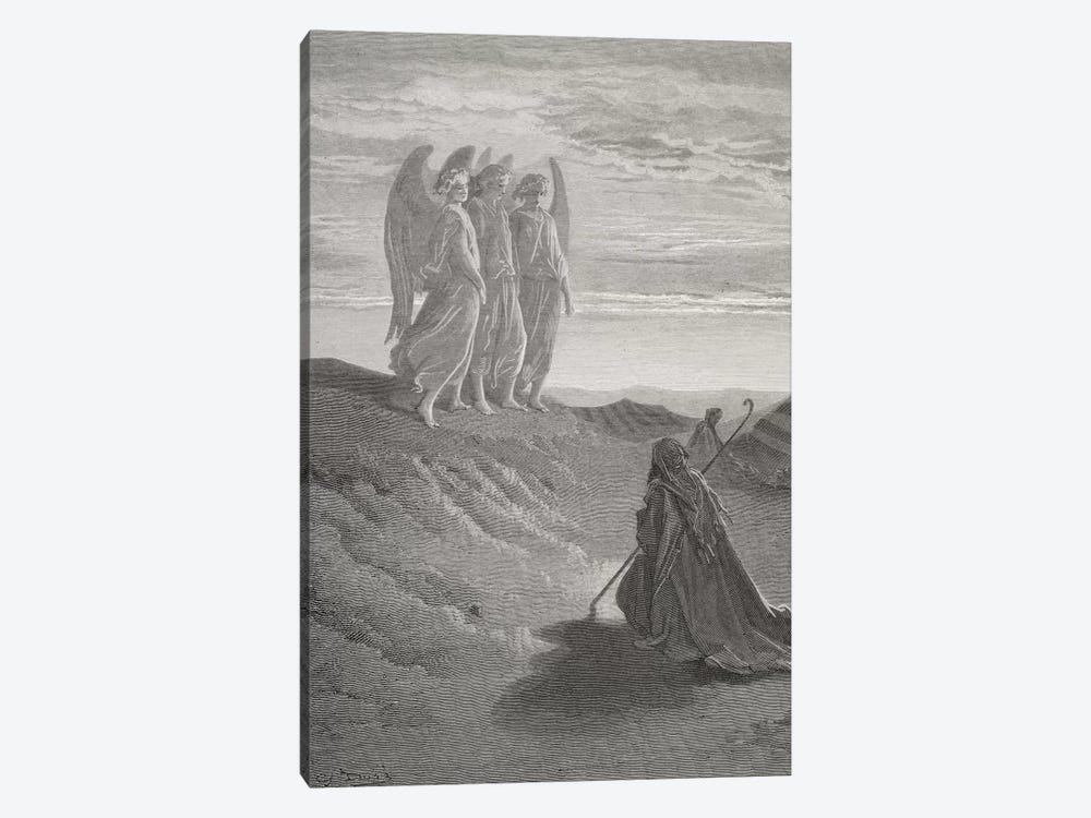 Abraham And The Three Angels (Illustration From Dore's The Holy Bible), 1866 by Gustave Dore 1-piece Art Print