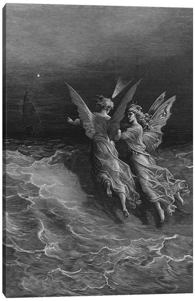But Why Drive On That Ship So Fast, Without A Wave Or Wind? (Illustration From Coleridge's The Rime Of The Ancient Mariner) Canvas Art Print