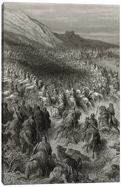 Crusaders Surrounded By Saladin's Army (Illustration From Michaud's Bibliotheque des Croisades), 1877 Canvas Art Print