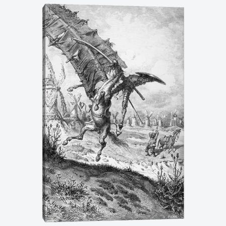 Don Quixote And The Windmills (Illustration From Don Quixote de la Mancha) Canvas Print #BMN6798} by Gustave Dore Canvas Print